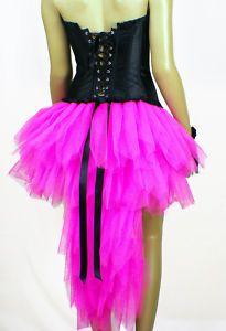 Burlesque Tutu Skirt Flourescent Pink Black- Hen night / Party