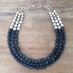 Grey and Sparkly Silver Statement Necklace by icravejewels on Etsy