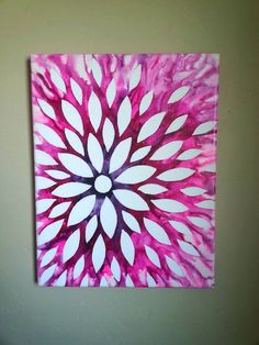 Crayon art flower canvas. Size 11 x 14.