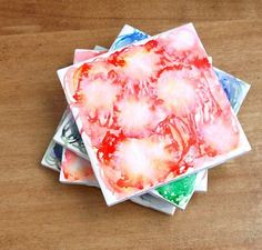 Faux Watercolor Coasters | Community Post: 17 Coaster DIYs Made With 20-Cent Tile