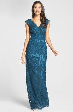 Tadashi Shoji Embroidered Lace Column Gown (Regular & Petite) available at #Nordstrom. Mother of groom