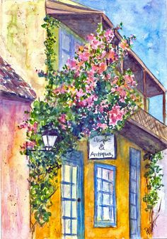 Yellow Building, Pink Flowers on vine, Balcony