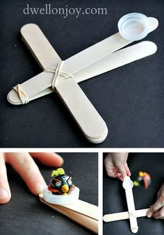 Angry Birds Catapults. Recently, angry birds are very popular among kids. Now you can make an angry bird catapult by yourself and enjoy it with your friends. http://hative.com/catapult-projects-for-kids/
