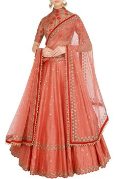 Coral and red lehenga set