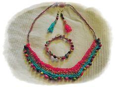crocheted ethno statement set handmade von Lechatsauvage auf Etsy