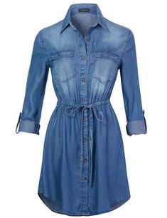 Womens Long Sleeve Button Up Tencel Denim Shirt Dress with Adjustable Drawstring. Front button up closure. Adjustable roll up sleeves with single button tab. Denim Shirt Dress Outfit, Long Denim Dress, Jean Shirt Dress, Denim Dresses, Denim Top, Denim Shirt With Jeans, Look Boho, Camisa Formal, Classy Casual