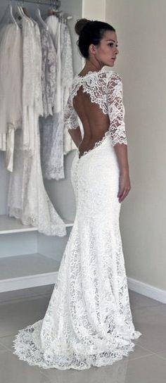 Lace Mermaid Sexy Wedding Dresses,Long Wedding Dresses,Backless Wedding Dresses