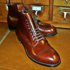 Alden #41921 Brown Calfskin Perforated Cap Toe Boot  Modified Last