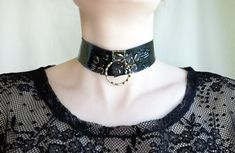 Black Goth Punk spike collar, Dominatrix collar, BDSM choker, submissive ring collar, Real Patent leather fetish choker Slave bondage collar Slave Collar, Black Goth, Punk Goth, Leather Pieces, Leather Collar, Handmade Jewelry, Handmade Gifts, Beautiful Outfits, Patent Leather