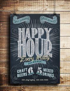 Happy Hour Chalkboard Indie Flyer on Behance