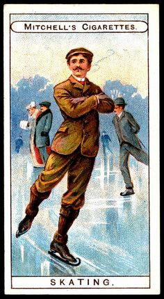 Cigarette Card - Skating by Vintage Labels, Vintage Ephemera, Vintage Cards, Vintage Comics, Vintage Posters, My Dream Car, Dream Cars, History Of Tobacco, Collector Cards