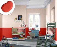 A painted-on wainscot look is sure to ignite creativity and activity in this space for little ones. | Gladiola SW6875, @Sherwin-Williams