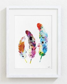 Colorful Feathers Watercolor Print - 5x7 Archival Fine Art Print - Feather Print - Feather Art - Gift, Wall Decor, Home Decor, Housewares