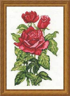 "Roses Blooming Portraits - 7"" x 9"", counted cross-stitch :: I ♥ roses, and this stitchy is simple and complex at the same time. Gorgeous!"