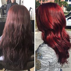 Obsessing over this transformation I did today! Neither of these pictures have filters!!! Prelightened& then used PM shines for her color& a Joico red top coat. then used 3V PM shines on the bottom of her hair. #paulmitchell #pmshines #joicointensities #joicored #shinyhair #mermaidhair #redhair #red #transformation #beforeandafter #haircolor .