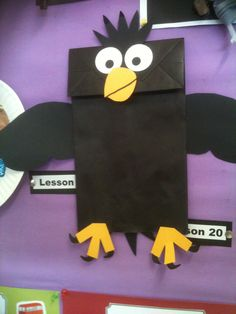 Lesson 4 God feeds Elijah. The children made these raven puppets out of paper bags.