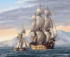 Navío Español de dos puentes acompañado por una balandra en su salida hacia Nápoles