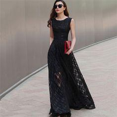 New Women Summer Dress Elegant Ladies Vintage Black Organza Sleeveless Long Beach Maxi Dress Sundress Vestidos Femininos Who like it ? Get it here