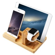 in Apple Watch Stand & iPhone Stand & iPad Stand, [Charging Dock] Smooth Natural Bamboo Body Desk Charging Station, Apple Watch Charging Stand Cradle Holder for Apple iWatch Comfortable Viewing Angle for iPhone 6 Plus, iPad Air, iPa Iphone Stand, Iphone 5s, Iphone Watch, Diy Ipad Stand, Apple Watch Charging Stand, Iphone Docking Station, Iphone Accessories, Apple Products, Cool Gadgets