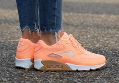 """Nike Air Max 90 """"Sunset Glow"""" With Gum Soles Releases For Women Cheap Sneakers, Best Sneakers, Nike Sneakers, Air Max Sneakers, Sneakers Fashion, Ladies Sneakers, Air Max 90, Nike Wmns, Training Shoes"""