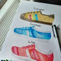 Basket shoes drawing Ideas for 2019 Amazing Drawings, Cool Drawings, App Drawings, Social Media Art, Drawing Clothes, Shoe Art, Cool Logo, Pictures To Draw, Medium Art