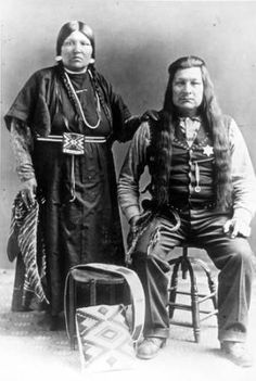 Nez Perce couple poses for formal portrait :: American Indians of the Pacific Northwest -- Image Portion