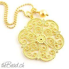 halskette und Anhänger aus Silber vergoldet // 925 sterling silver gold plated necklace