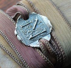 Pure silver letter-monogram bracelet-wrap bracelet-hand dyed silk ribbon Silver Charms, Sterling Silver Necklaces, Silver Jewelry, Monogram Bracelet, Letter Monogram, Dyed Silk, Wrap Bracelets, Silk Ribbon, Handmade Silver