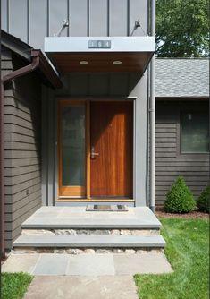 Front Steps Design Ideas, Pictures, Remodel and Decor Front Door Canopy, Front Door Entryway, Wood Front Doors, House Entrance, Entrance Doors, Front Entry, Modern Entrance, Modern Entry, Modern Front Door