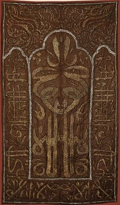 Embroidered mosque curtain.  Late-Ottoman, 1830s.  Silver and gold thread on silk.