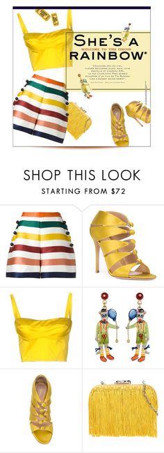 """Striped Shorts."" by s-elle ❤ liked on Polyvore featuring Carolina Herrera, Gianvito Rossi, Simona Corsellini, Corto Moltedo and BoldStripes"