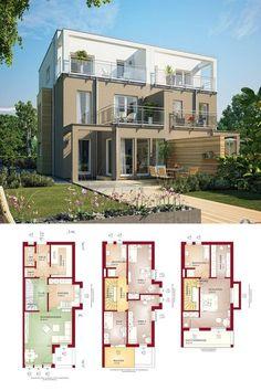 Doppelhaus modern mit Flachdach - Grundriss Doppelhaushälfte Celebration 114 V9 XL Bien Zenker Fertighaus Ideen - HausbauDirekt.de
