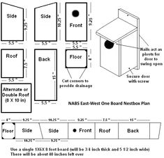 Free bird house plans for all kinds of birds. Bluebirds, purple martin, robins, … Free bird house plans for all kinds of birds. Bluebird House Plans, Bird House Plans Free, Bird House Kits, Blue Bird House, Free Birdhouse Plans, Bat House Plans, Wooden Bird Houses, Bird Houses Diy, Bird Aviary