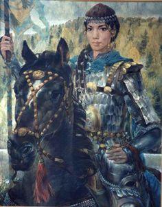 Жени войни от Волжка България, художник Булат Гилванов - Women warriors from Volga Bulgaria, painter Bulat Gilvanov