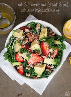 Kale Strawberry and Avocado Salad with Lemon Poppyseed Dressing - Kims Healthy Eats