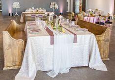 Sheer White Voile Table Veil atop Dusty Rose Plush Velvet Wide Runner & Rose Martinique Floor Lenth Linen Shot by Fully Alive Photography