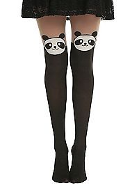 HOTTOPIC.COM - LOVEsick Panda Faux Thigh High Tights
