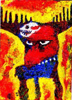 dark spirit e9Art ACEO Skull Fantasy Shaman Pagan Outsider Art Brut Lowbrow Raw  #OutsiderArt