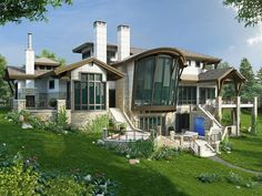 066H-0043: Contemporary House Plan Designed for a Mountain Lot Duplex House Plans, Best House Plans, Contemporary House Plans, Contemporary Bathrooms, Two Bedroom Suites, Bedrooms, Mountain House Plans, Building Section, Floor To Ceiling Windows