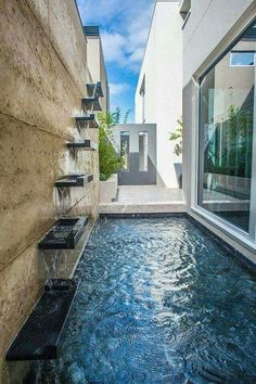 Modern Fountain Design: Mesmerizing Ideas to Beautify Your Backyard Small Backyard Pools, Backyard Pool Designs, Small Pools, Swimming Pools Backyard, Swimming Pool Designs, Backyard Ideas, Modern Fountain, Fountain Design, Fountain Ideas