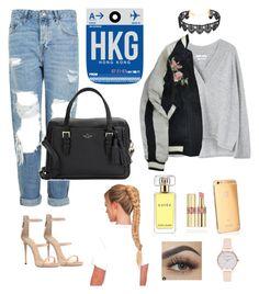 """Hong Kong style"" by anaislwt ❤ liked on Polyvore featuring Estée Lauder, MANGO, Topshop, Goldgenie, Giuseppe Zanotti, Yves Saint Laurent, Isabel Marant, Kate Spade and Olivia Burton"