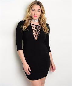 Plus Black Lace Up Body Con Dress