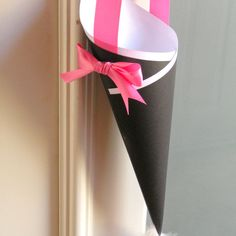 Black & White Wedding Decor Cone for Ceremony Aisle, Chair Marker, Church Pew Cone or Flower Girl Petal Basket with Custom Color Ribbon. $10.00, via Etsy.