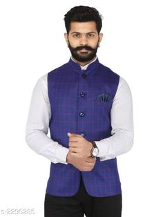 Ethnic Jackets Stylish Cotton Viscous Blend Printed Ethnic Jacket Fabric: Cotton Viscous Blend Sleeves: Sleeves Are Not Included Size: 36 in 38 in 40 in 42 in 44 in (Refer Size Chart) Length: (Refer Size Chart) Type: Stitched Description: It Has 1 Piece of Men's Ethnic Jacket Pattern: Checkered Country of Origin: India Sizes Available: 36, 38, 40, 42, 44, 46   Catalog Rating: ★4.2 (993)  Catalog Name: Men's Stylish Cotton Viscous Blend Printed Ethnic Jackets Vol 1 CatalogID_306072 C66-SC1202 Code: 386-2295285-1761