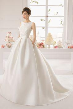 2015 Scoop Sexy Back A Line Beaded Bodice Satin Wedding Dress Chapel Trian USD 259.99 EPPP3E9X2Z - ElleProm.com