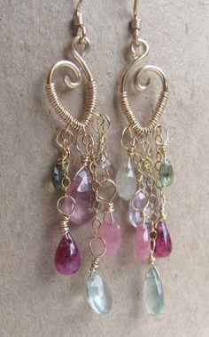 Peace Energy Earrings Ruby Sapphire Moss by BellaBerlinJewels