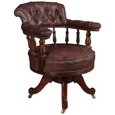 Mahogany framed captains office chair | From a unique collection of antique and modern office chairs and desk chairs at https://www.1stdibs.com/furniture/seating/office-chairs-desk-chairs/