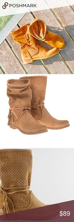 """Tan Tassel Slouch Perforated Boots Width B(M) Regular Suede Upper Material Rubber Outsole Material Round Toe Toe  1"""" Heel Height 9.5"""" Shaft Height 14"""" Circumference Cue Tan Urban Outfitters Shoes Ankle Boots & Booties"""