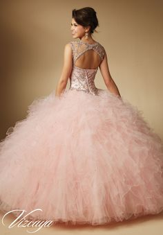 #1 choice -The back view of her dress !!  Quinceanera Dress 89041 Jeweled Beading on Ruffled Tulle