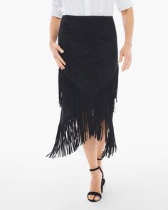 Chico's Women's Petite Faux-Suede Fringed Midi Skirt, Black, Size: S) Suede Fringe Skirt, Calf Length Skirts, Tiered Skirts, Skirt Fashion, Tie Dye Skirt, Midi Skirt, Ballet Skirt, Womens Fashion, Outfits